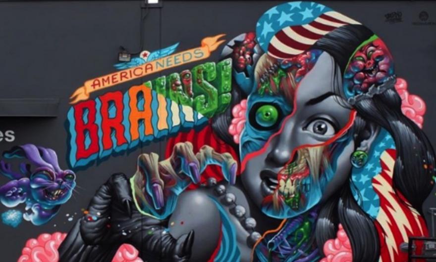 """""""America Needs Brains"""", nuevo mural de Saturno Art y Tristan Eaton"""