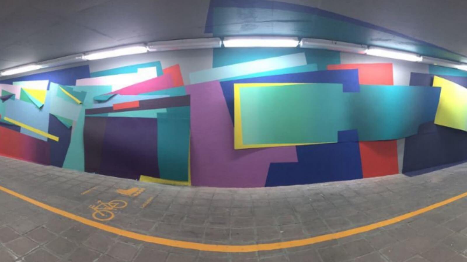 Nuria Mora realiza instalación en mural del Tec de Monterrey