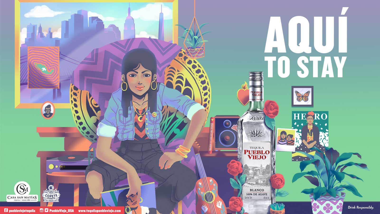 Smithe and Pogo from Copete Cohete design billboards for Tequila Pueblo Viejo ?