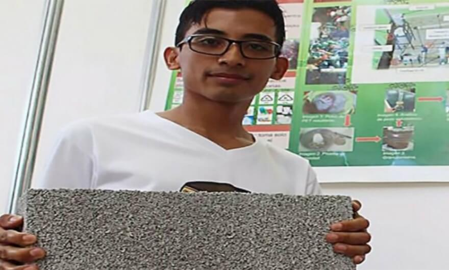 Estudiante mexicano crea ladrillos hechos de PET
