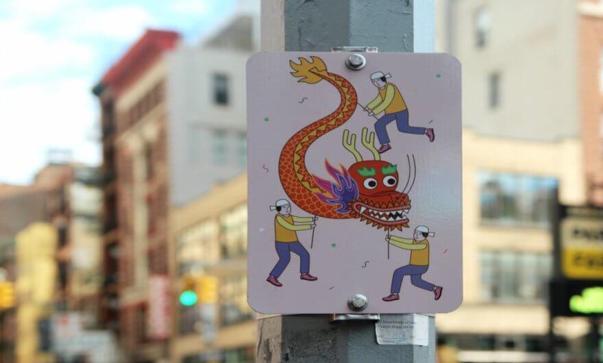 Señalamientos ilustrados en el Barrio Chino de NY