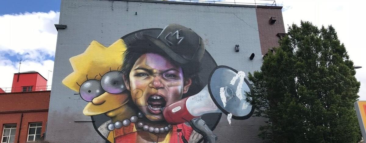 """Los Simpson en el Festival de Arte Urbano """"Upfest"""""""