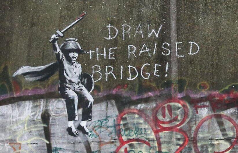 Obras de Banksy en proceso de restauración