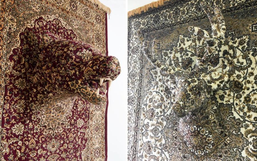 esculturas con alfombras persas de Debbie Lawson