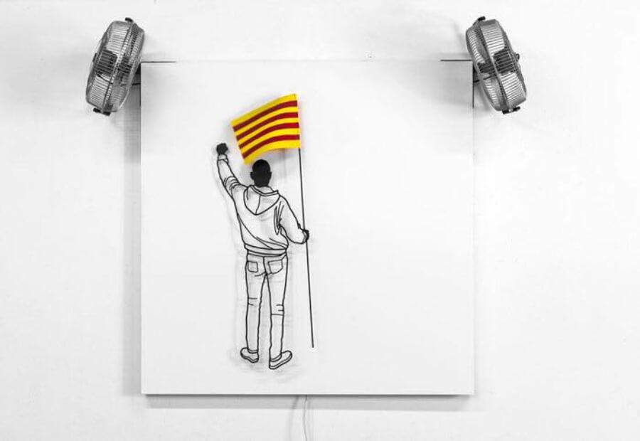 Frank Plant, dibujos escultóricos de hierro, independencia Cataluña