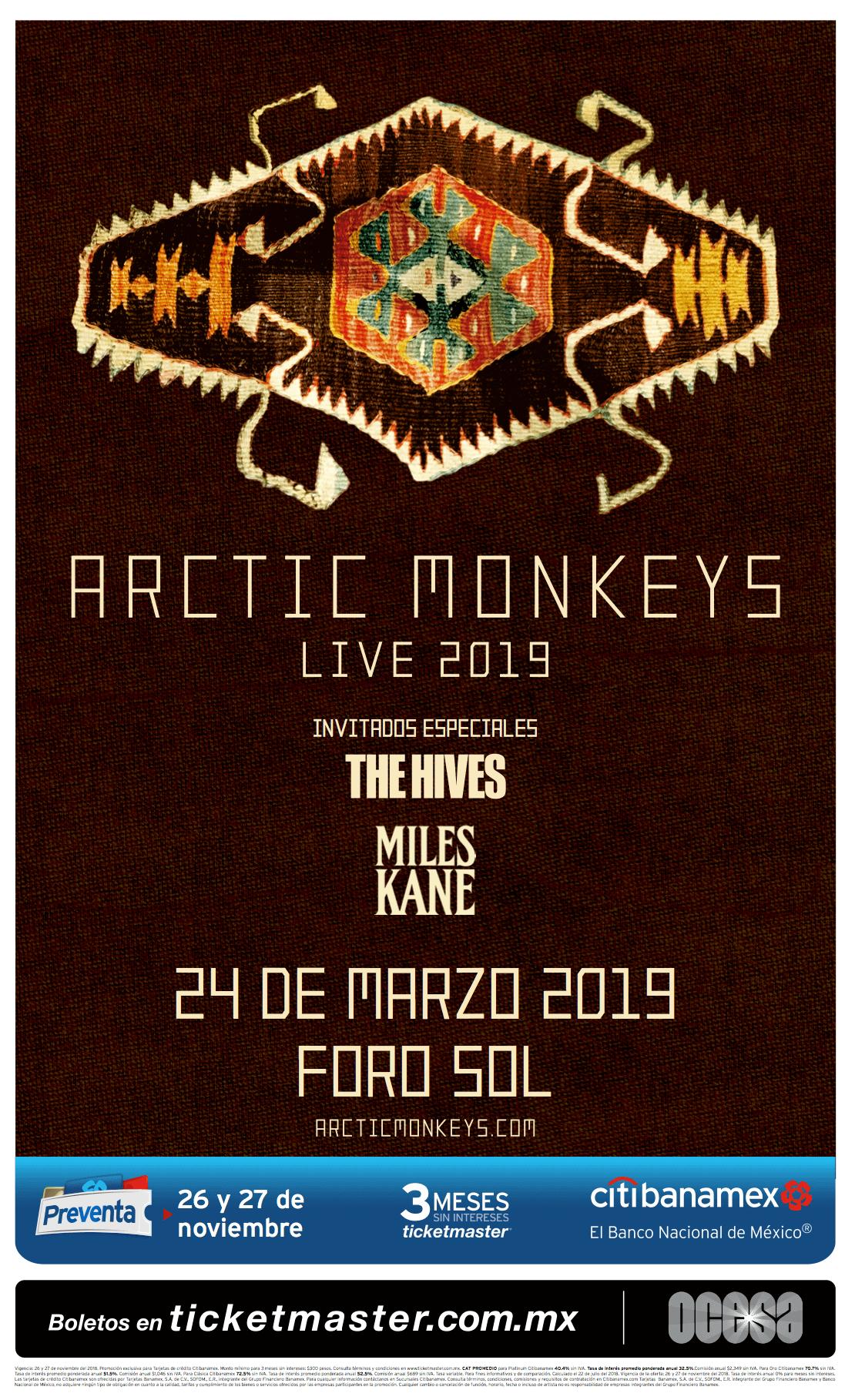 Poster oficial del concierto de Arctic Monkeys en el Foro Sol
