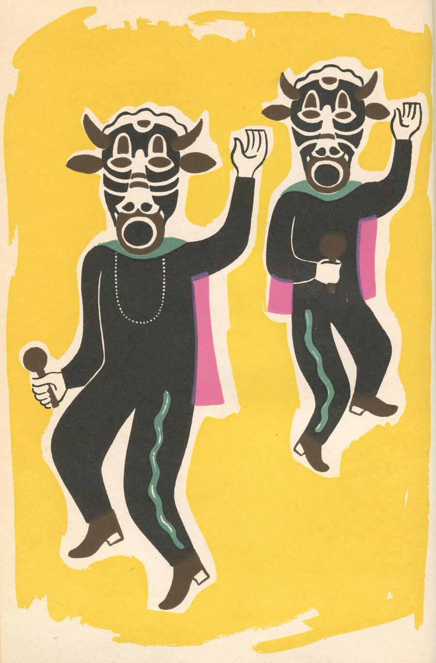 Obra de Carlos Mérida de la danza de los PAscolas con traje típico en Michoacán