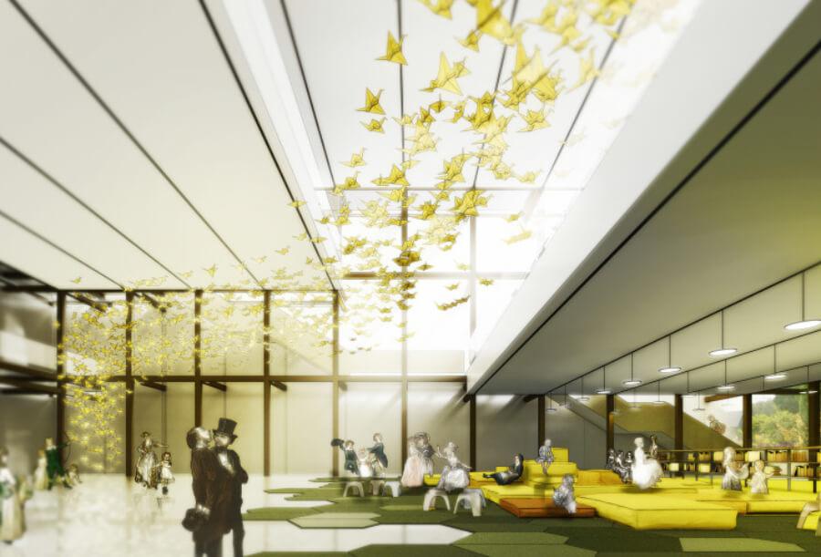 Lámina del render del proyecto ganador del nuevo Papalote Museo de Iztapalapa