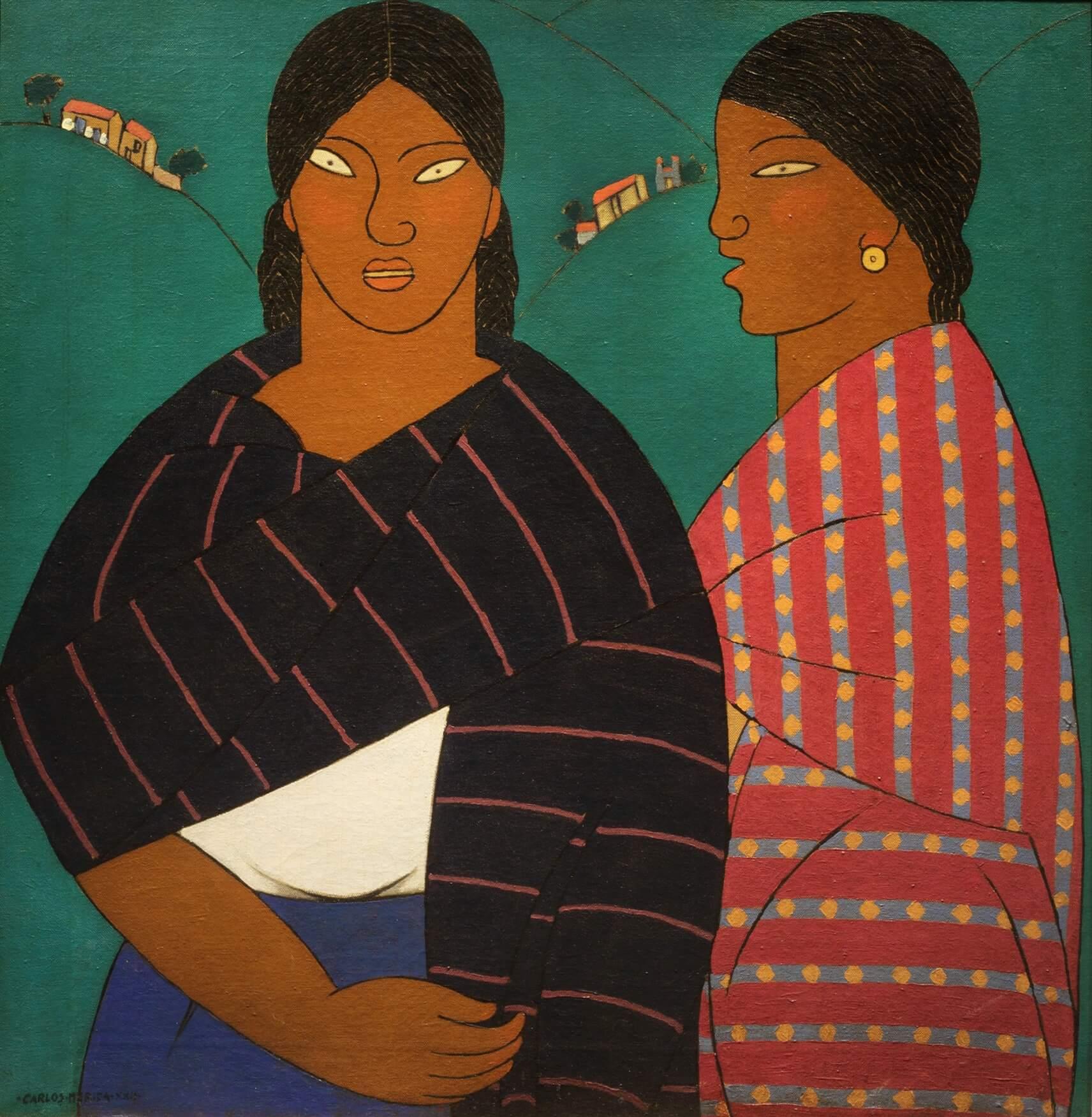 Pintura de dos mujeres indígenas con rebozos