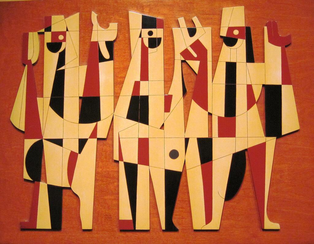 Pintura de personas en forma de figuras geométricas con colores amarillo, naranja, rojo y detalles negros