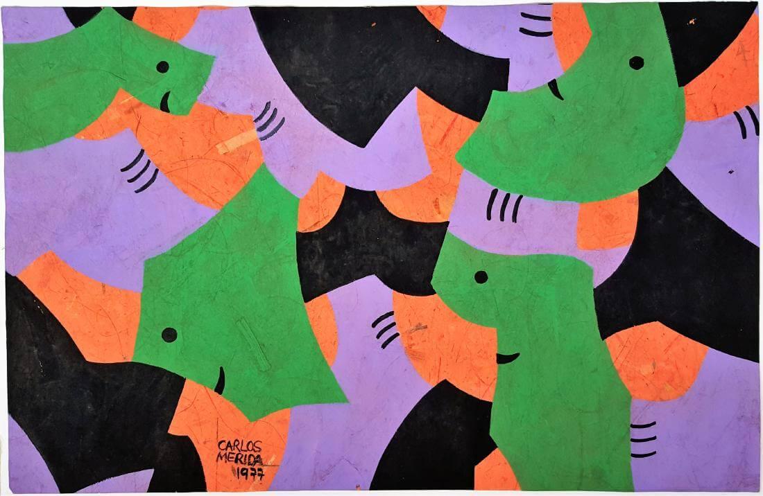 Rostros en forma de figuras geométricas en color verde, naranja y violeta - Obra de Carlos Mérida