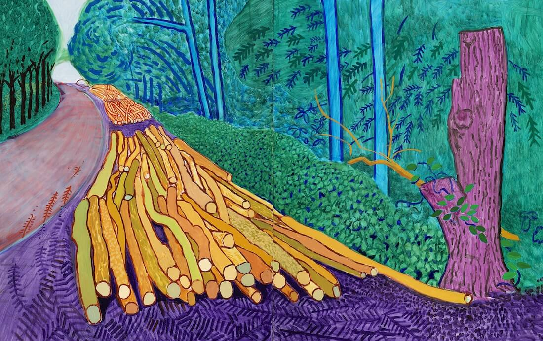 Obra de David Hockney ore Felled trees on woldgate David Hockney en exposicion Joy of Nature