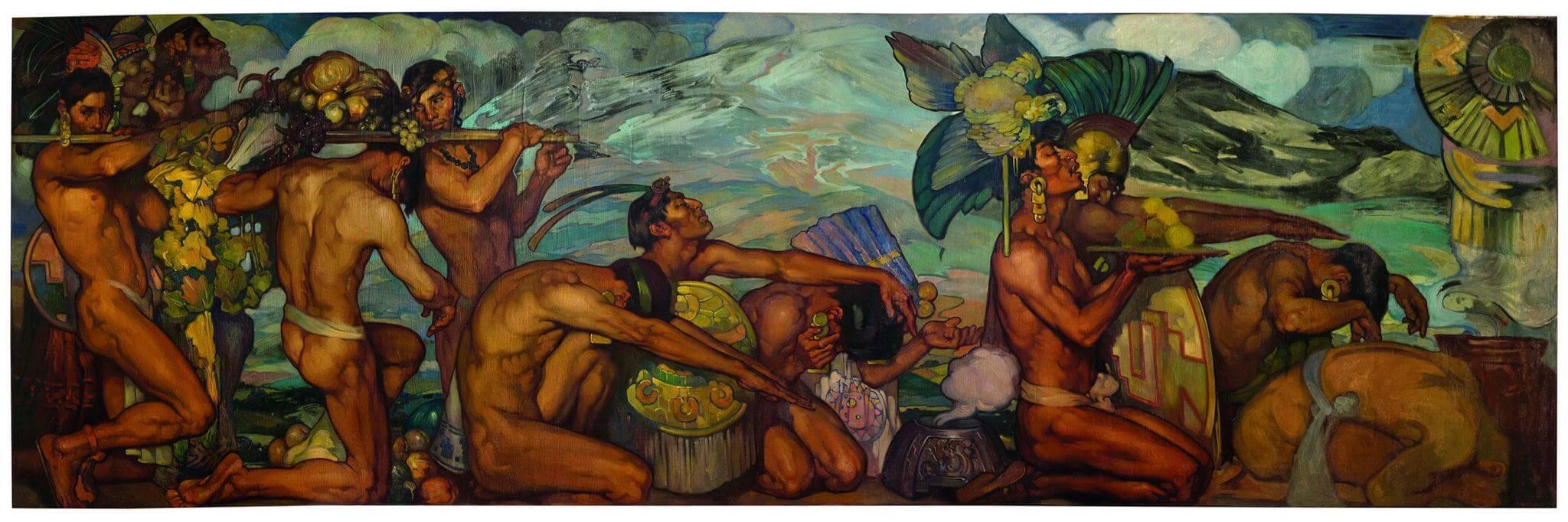 Obras Nuestros dioses antiguos de Herrán que muestra a personas de la época prehispánica