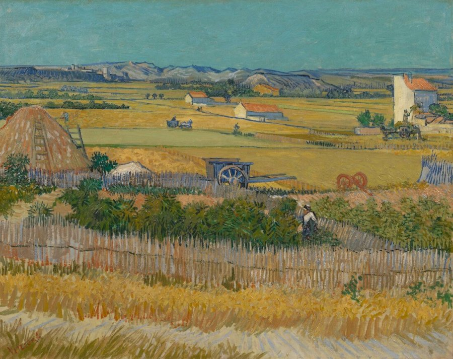 Pintura The Harvest de Van Gogh en exposicion Joy of Nature