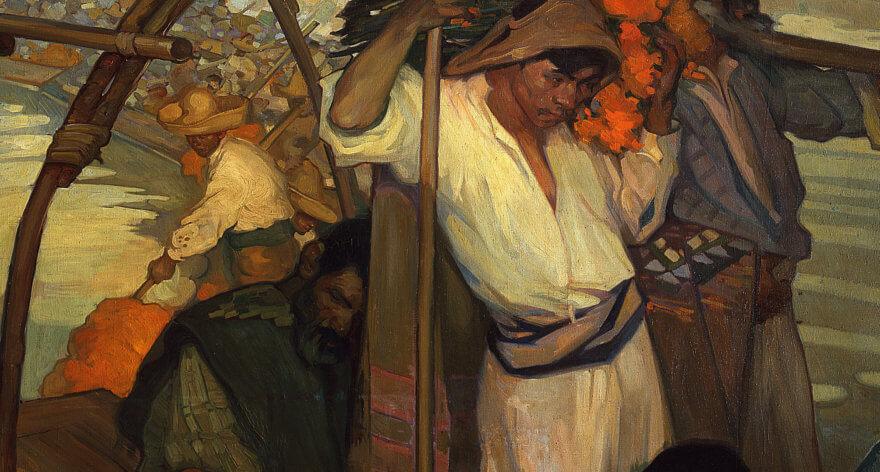 pintura La Ofrenda de Saturnino Herrán sobre una ofrenda de día de muertos en una trajinera en Xochimilco