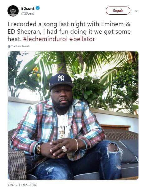 Tuit de 50 Cent anunciando su colaboración con Eminem y Ed Sheeran