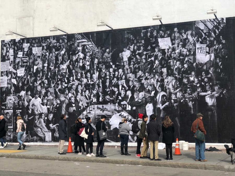 Fotografía del mural de JR en Nueva York