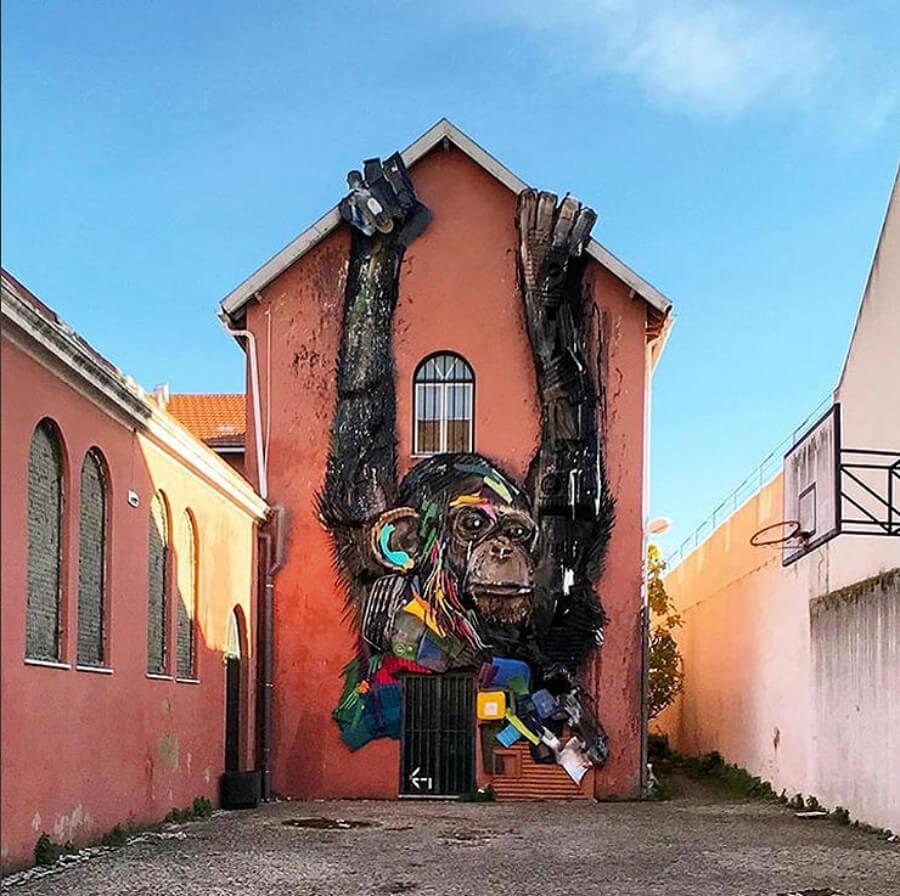 Mural de Bordalo II en su taller de Portugal