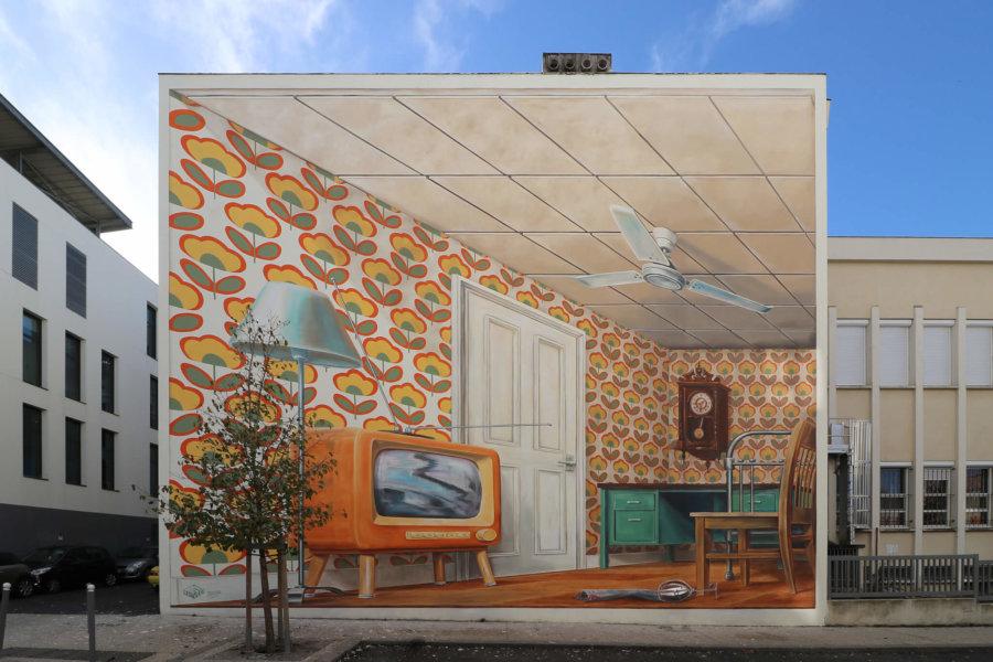 Mural en 3D de Leon Keer en Pessac Francia