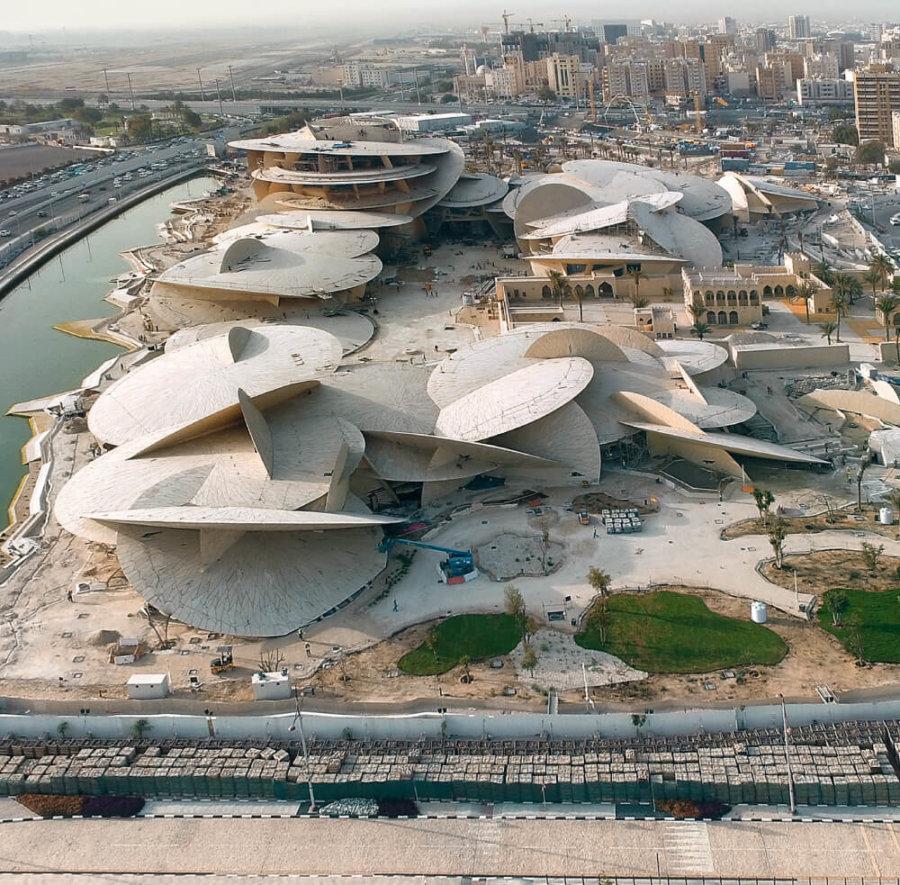 Museo Nacional de Qatar visto desde el aire