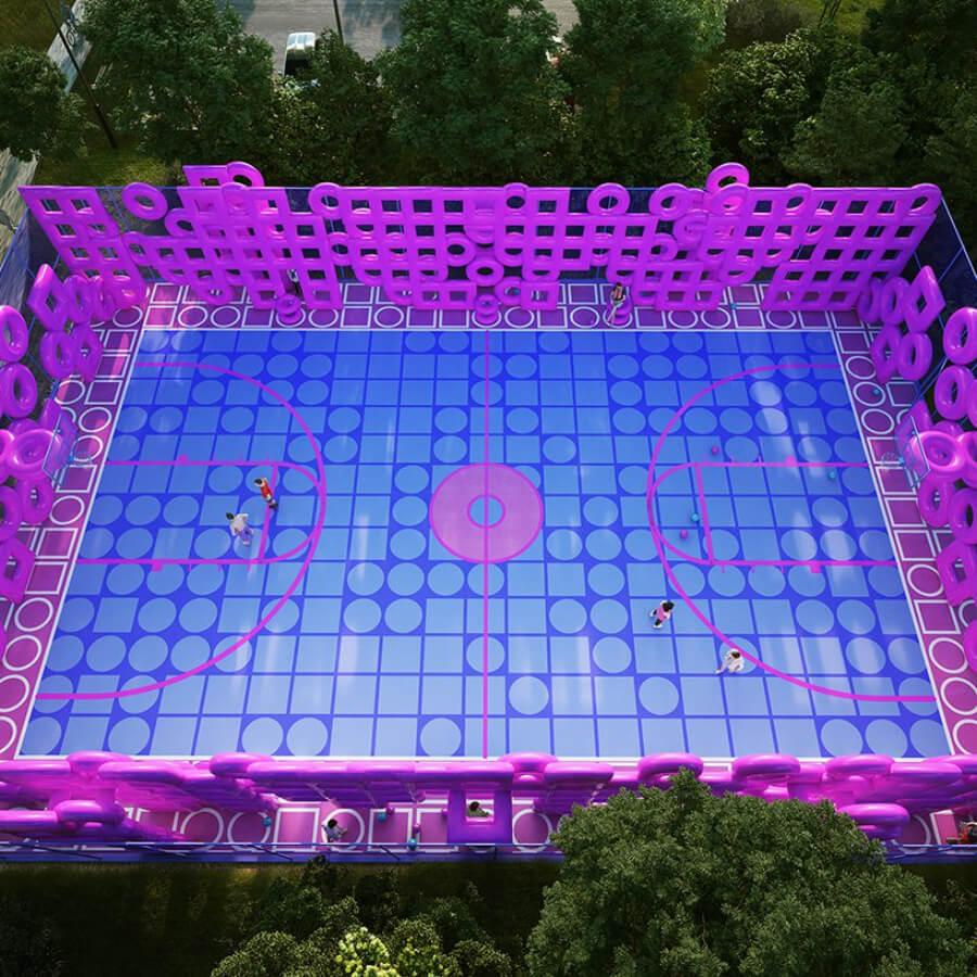 Render de la instalación artística de una cancha de basketball por Town and concrete