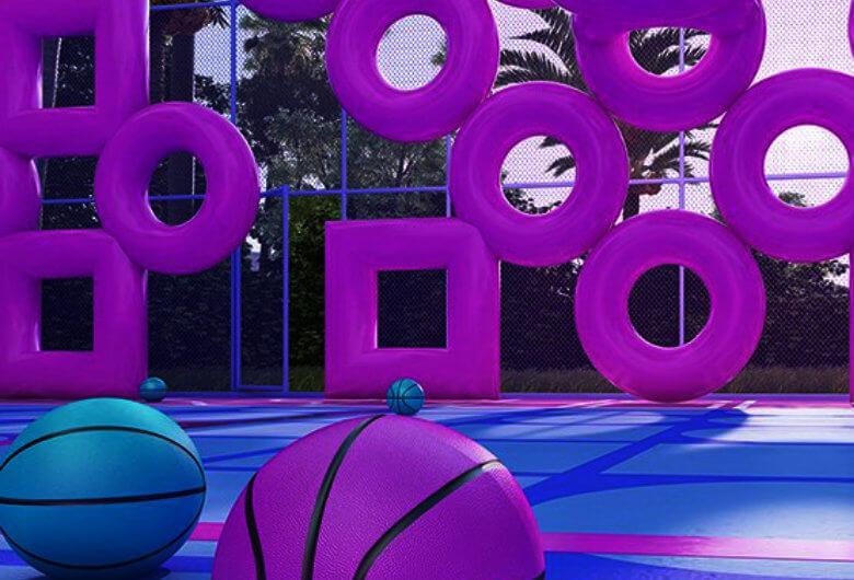 Render de la instalación artística de una cancha de basketball por Town and concrete V