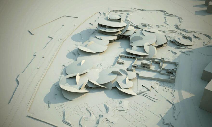Render del proyecto del Museo Nacional de Qatar