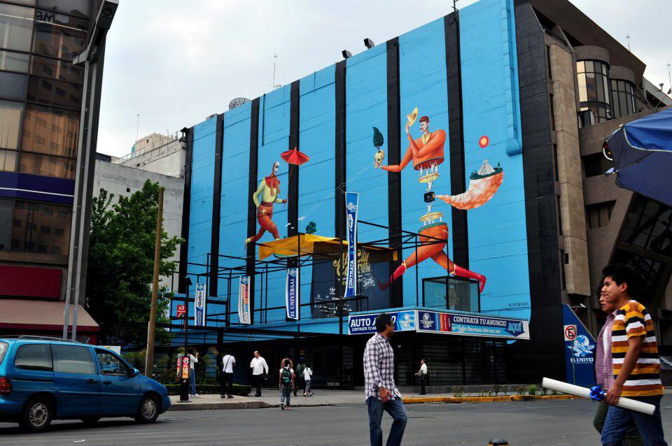 Trapecistas sobre mural azul