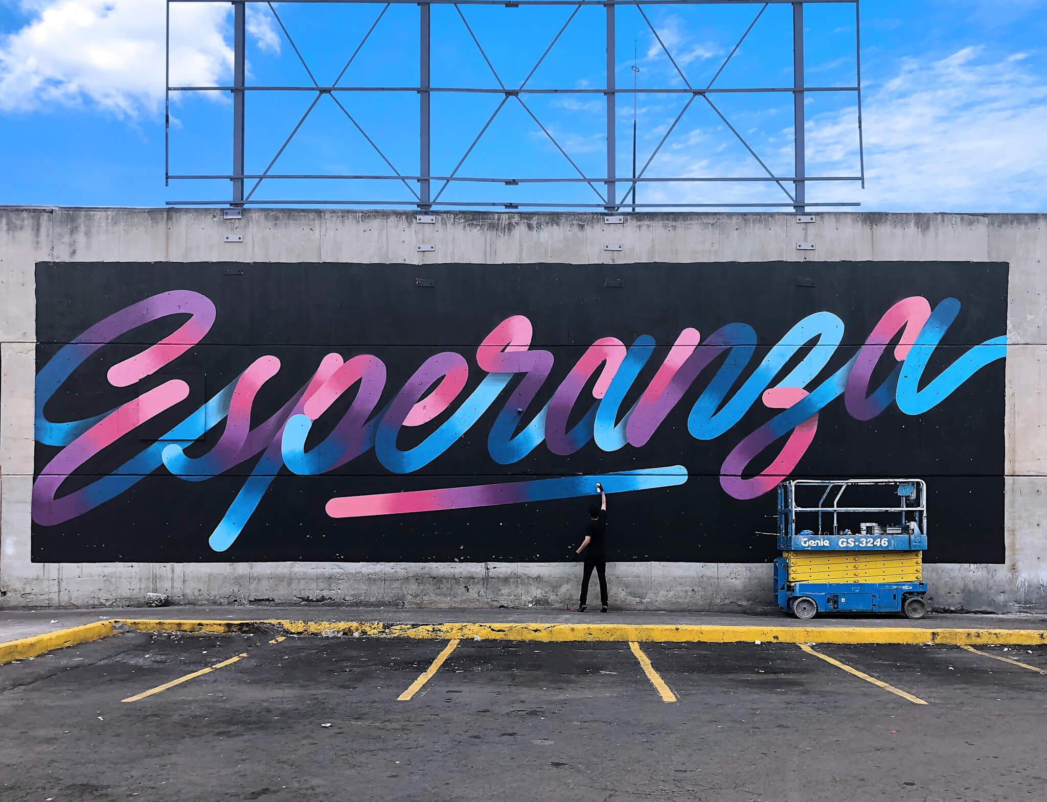 """""""Esperanza"""" (Esperanza) - El primer mural español a gran escala en Central de Abastos, en Iztapalapa en la Ciudad de México."""