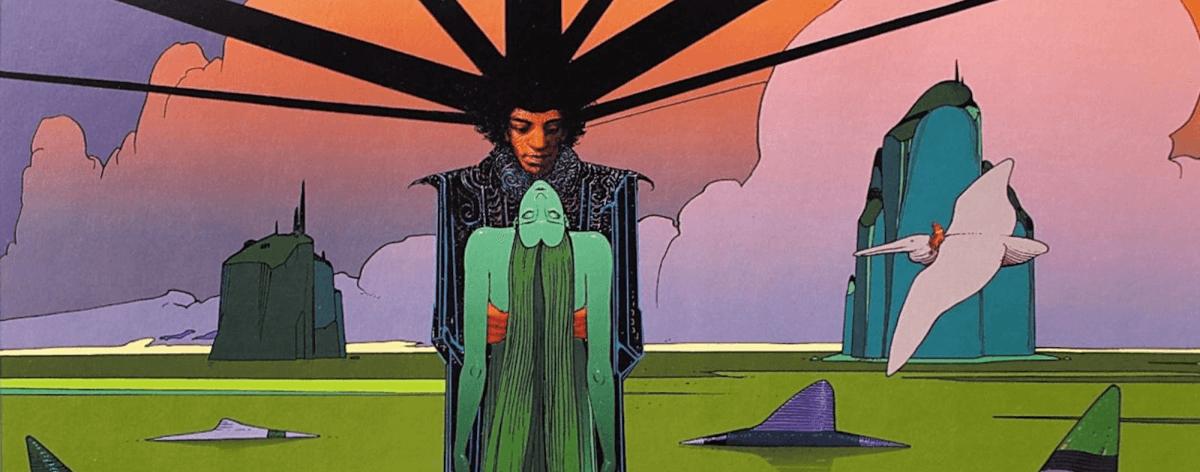 Jimi Hendrix ilustrado por el artista Moebius