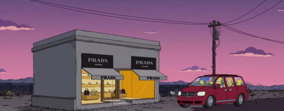 Los Simpsons visitan Prada Marfa
