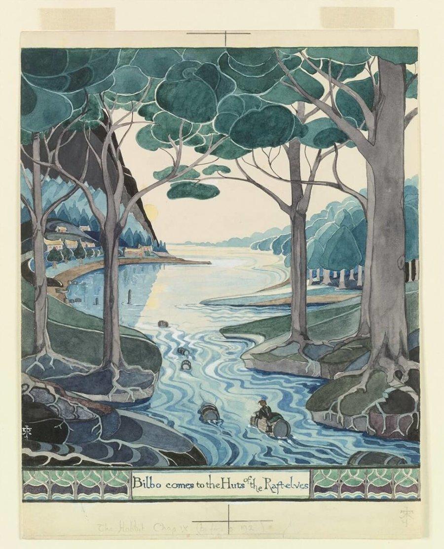 ilustracion en la exposición de JRR Tolkien en NYC 2