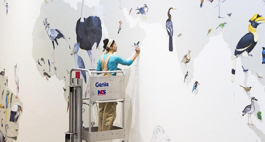 Jane Kim y su colosal mural de aves