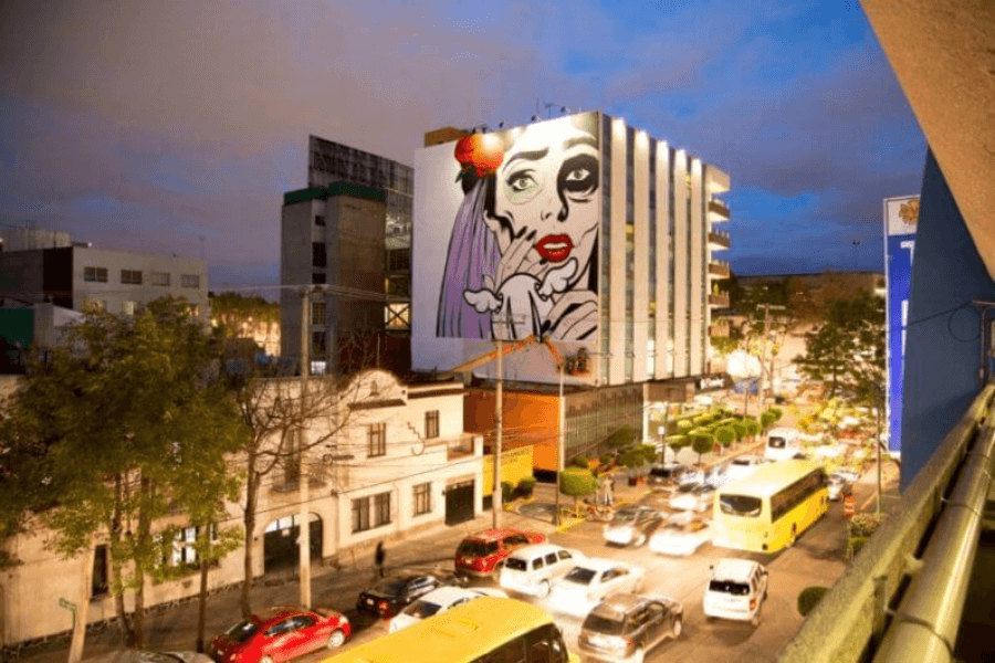 D Face mural in Mexico