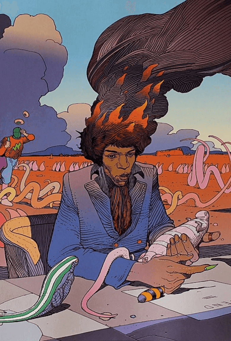 Jimi Hendrix illustrated by the artist Moebius