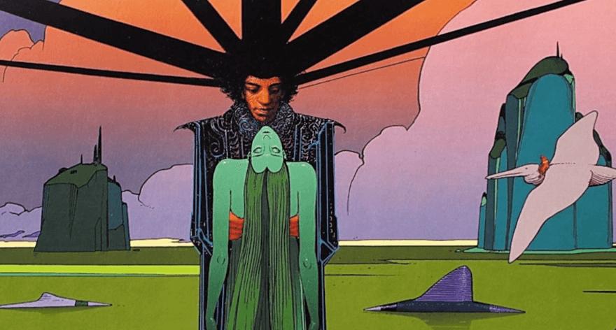 Jimi Hendrix illustrated by the artist Moebius