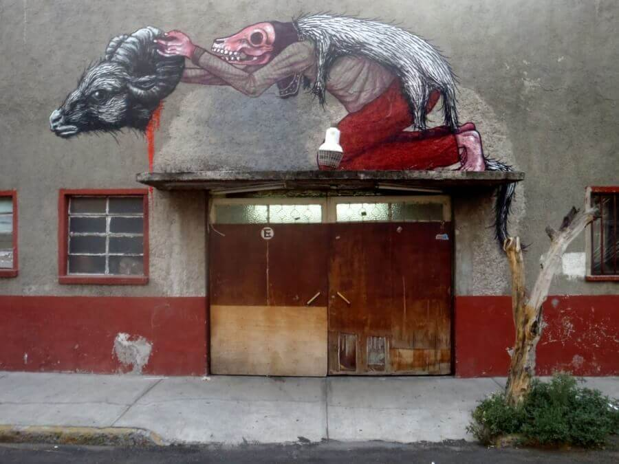 ROA an Saner mural in Mexico