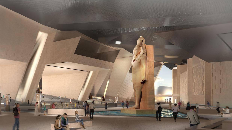 Render del museo de Egipto con la estatua de Tutankamón