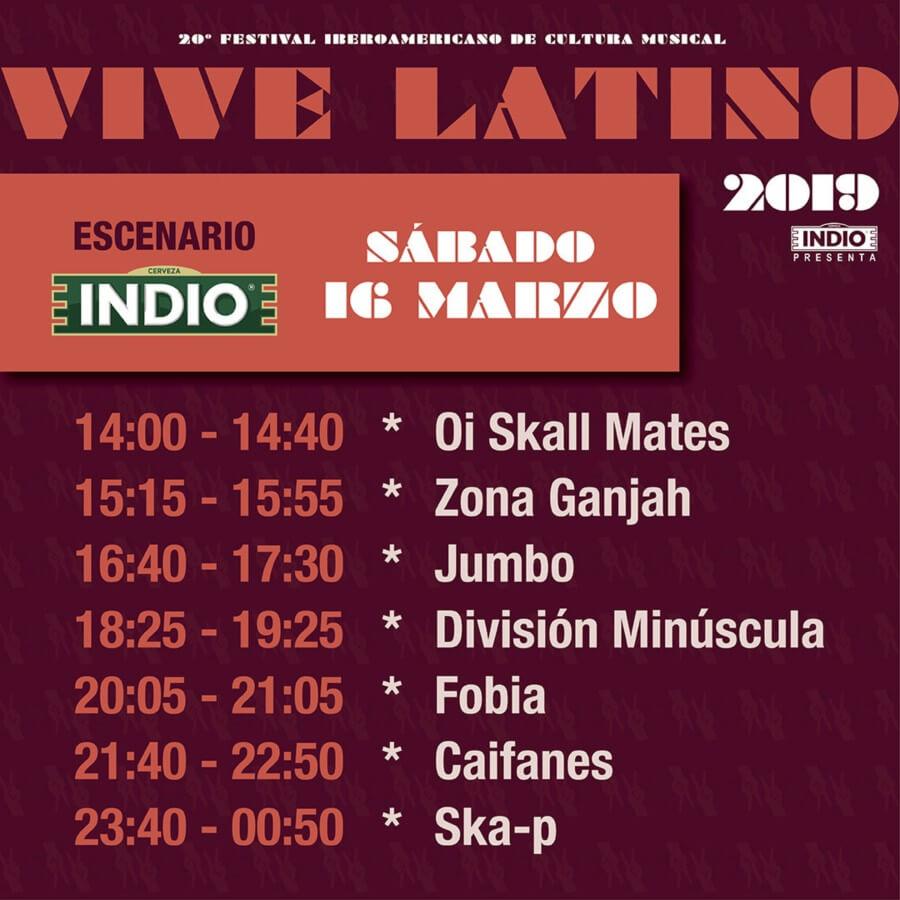 horarios del vive latino  Sábado