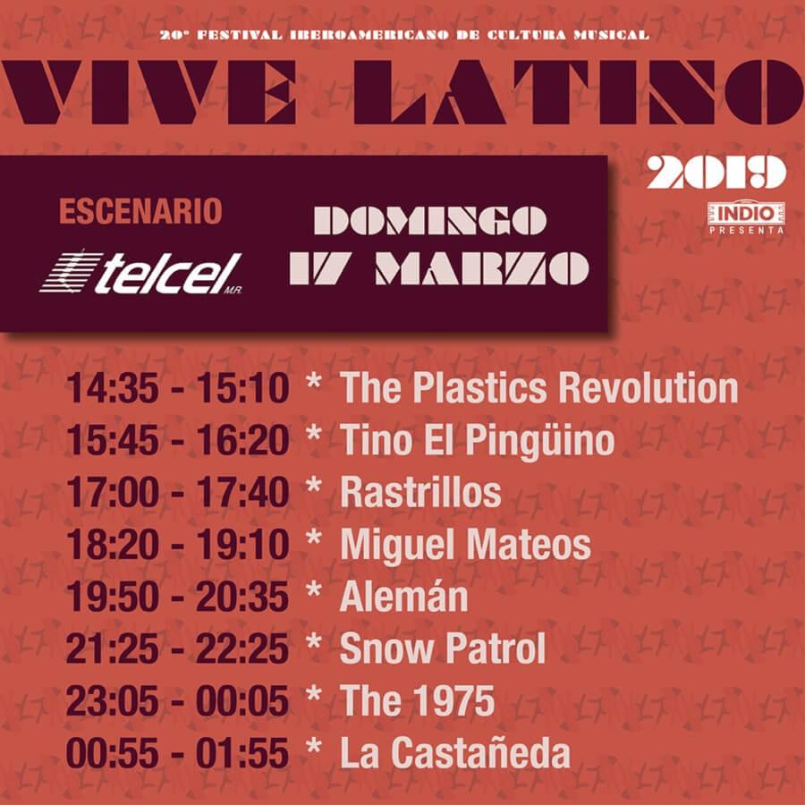horarios del vive latino Domingo