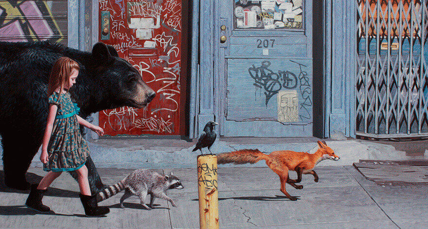 Kevin Peterson 's paintings on fauna and childhood freedom