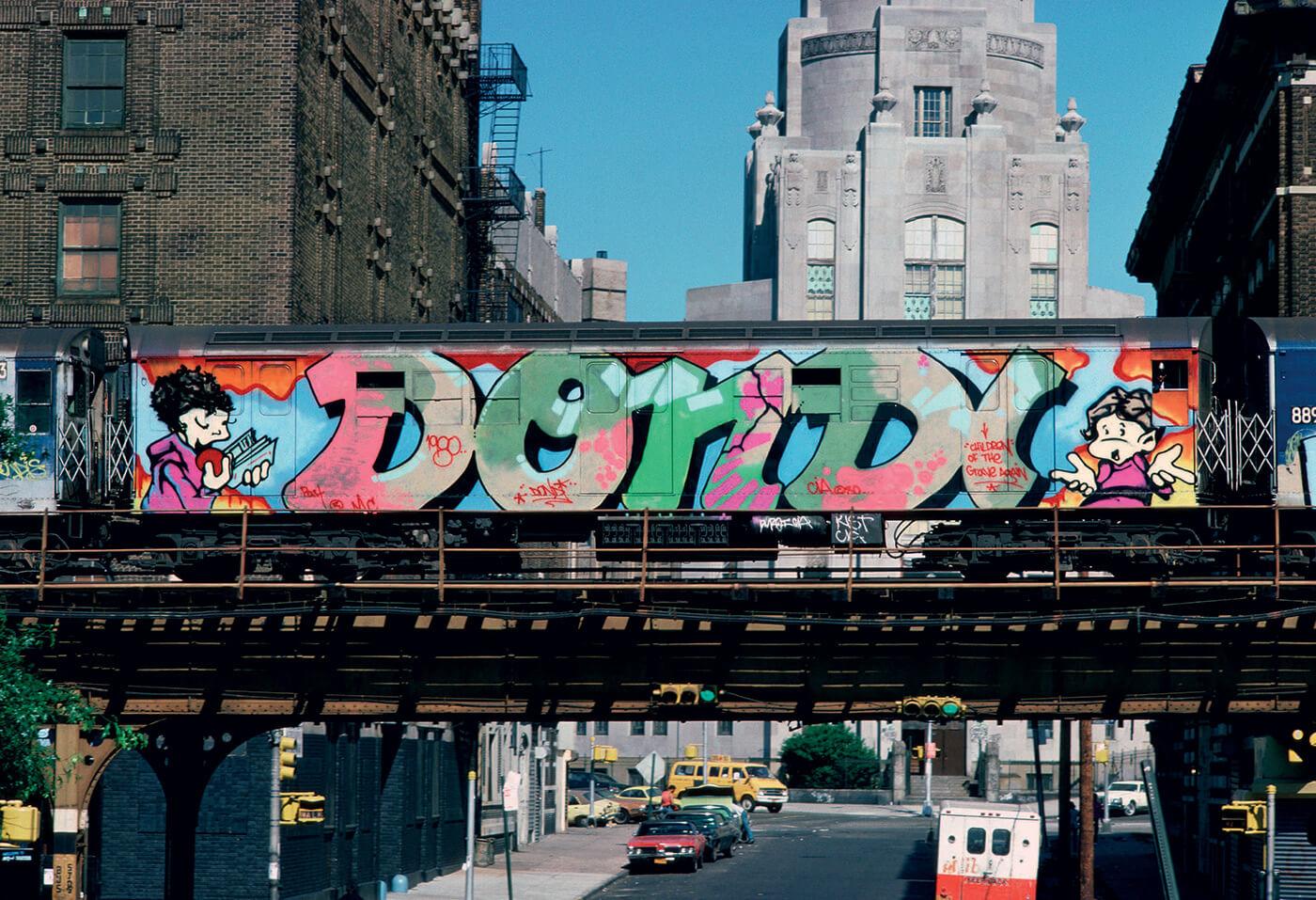 metro de Nueva York con graffiti de DONDI