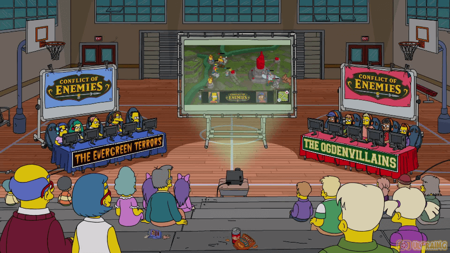 Escena del capítulo E my Sports de los simpsons