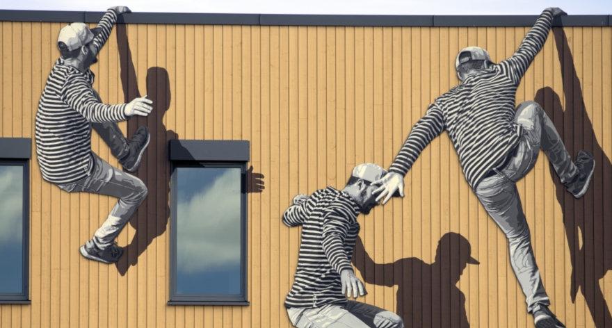 Personajes humanos monocromáticos con esténcil