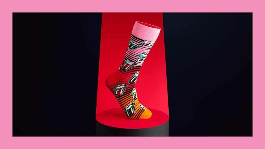 Parte de la colección de Happy Socks y Rolling Stones