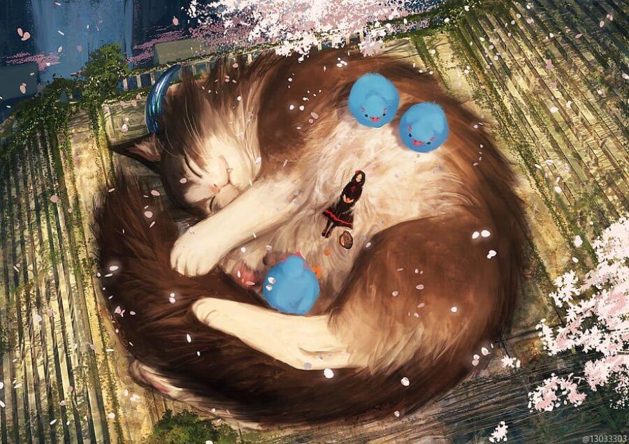 Ariduka55 recrea mundo fantásticos entre animales y humanos