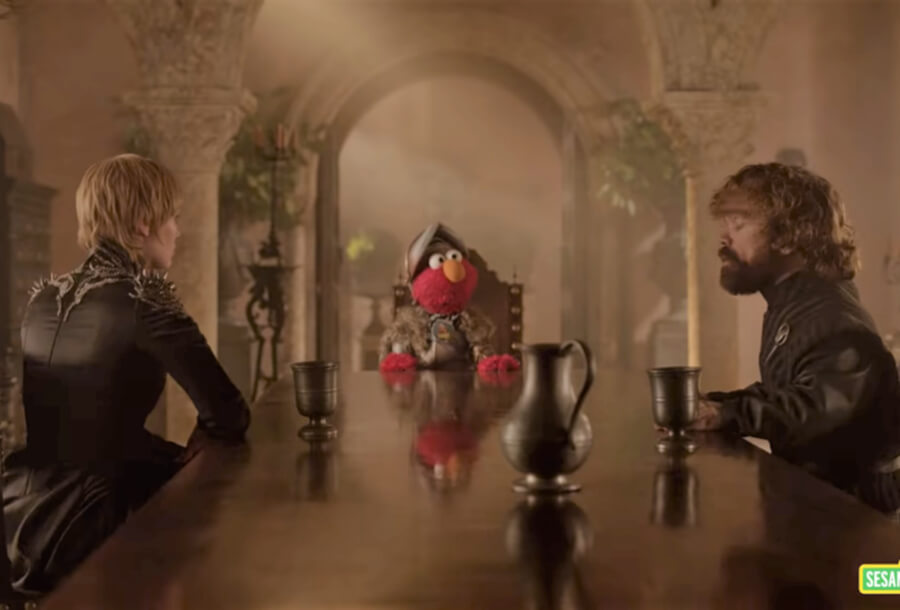 Elmo en Game of Thrones para campaña de respeto de HBO