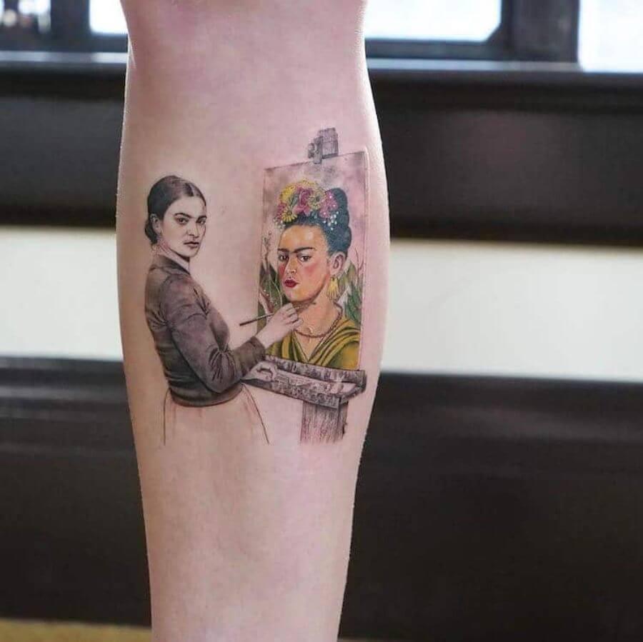 Parte de los tatuajes de pinturas clásicas de Eva Krbdk
