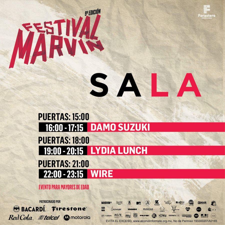 Horarios de SALA en Festival Marvin
