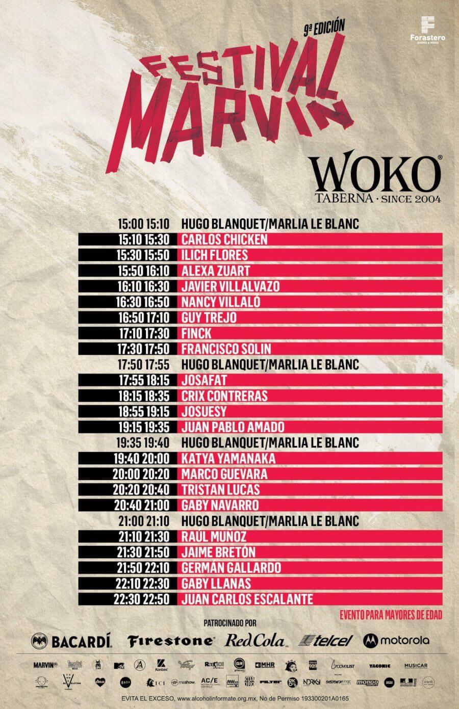 Horarios en Festival Marvin